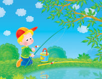 Fishing boy Royalty Free Stock Photography
