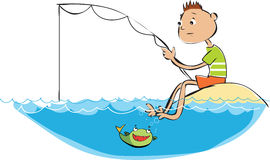 Fishing boy. Vector cartoon of a fishing boy Royalty Free Stock Photography