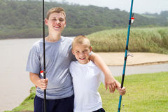 Fishing boys Stock Image