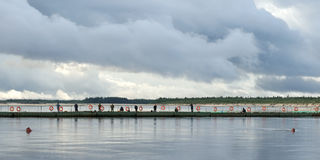 Fishing on bridge Royalty Free Stock Photography