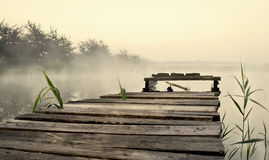 Fishing bridge, morning mist Stock Photo