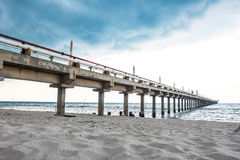 Fishing bridge and Oil jetty Royalty Free Stock Photography