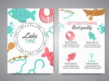 Fishing brochure. Fish menu Banners with quotes about fishing. Flat fish icons, with net or rod. Salmon steak and boat. Fisher tackles, baits Vector Stock Images
