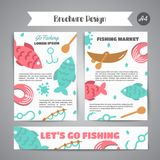 Fishing brochure. Go fishing text. Banners with quotes about fishing. Flat fish icons, with net or rod. Salmon steak and. Boat, fisher tackles, baits Vector Stock Image