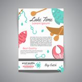 Fishing brochure. Lake time text. Banners with quotes about fishing. Flat fish icons, with net or rod. Salmon steak and. Boat, fisher tackles, baits Vector Stock Images