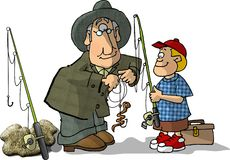 Fishing buddies stock illustration