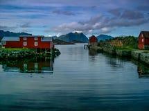 Fishing Buildings at Stamsund, Lofoten, Norway Royalty Free Stock Images
