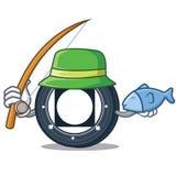 Fishing Byteball Bytes coin mascot cartoon. Vector illustration Royalty Free Stock Photo