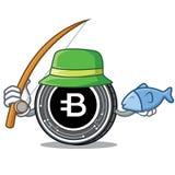 Fishing Bytecoin coin mascot cartoon. Vector illustration Royalty Free Stock Photos