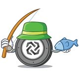 Fishing Bytom coin mascot cartoon. Vector illustration Stock Photo