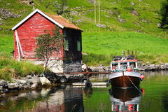 Fishing cabin and boat Royalty Free Stock Photos