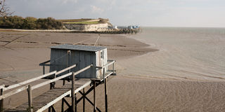 Fishing cabin in the estuary Royalty Free Stock Photos