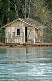 Fishing Cabin On Frozen Lake Stock Photos