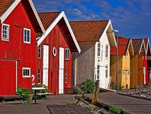 Fishing cabins in Grundsund, Sweden. Royalty Free Stock Photography