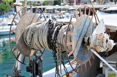 Fishing cable drum on a trawler boat Royalty Free Stock Image
