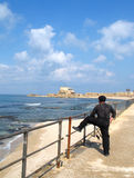 Fishing in Caesarea Stock Photography