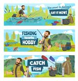 Fishing camp, fisherman on boat with rod and fish stock illustration