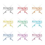Fishing camp icon, color icons set Royalty Free Stock Images