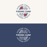 Fishing camp logo set consisting of fish on the hook for explore Stock Image