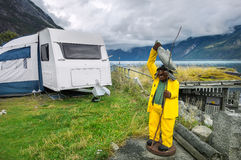 Fishing camp with wooden troll in Eidfjord. Norway, Scandinavia Stock Photography