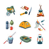 Fishing and Camping Equipment in Flat Design Stock Photos