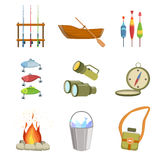 Fishing And Camping Equipment Set. Of Simple Design Illustrations In Cute Fun Cartoon Style Isolated On White Background Royalty Free Stock Photos