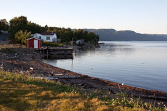 Fishing camps on the water. A landscape of fishing camps on the water Royalty Free Stock Photography