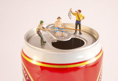 Fishing on a Can Royalty Free Stock Photos