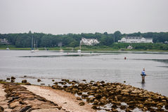 Fishing Cape Cod. A man wades in the water for some early morning fishing on Cape Cod in Massachusetts Stock Images