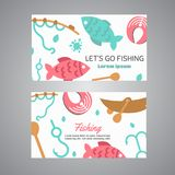 Fishing card. Lake time text. Banners with quotes about fishing. Flat fish icons, with net or rod. Salmon steak and boat. Fisher tackles, baits Vector Stock Image