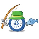 Fishing Cardano coin character cartoon. Vector illustration Stock Images