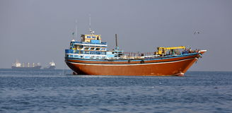 Fishing and cargo ships which are used for transportation in Red Sea and Gulf of Aden Royalty Free Stock Images