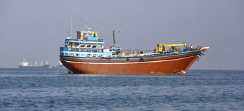 Fishing and cargo ships which are used for transportation in Red Sea and Gulf of Aden Royalty Free Stock Photos