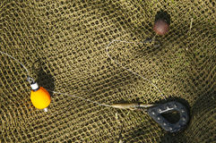 Fishing carp rig with fishing lead stock photo