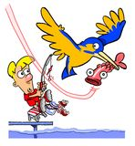 Fishing cartoon with bird Stock Images