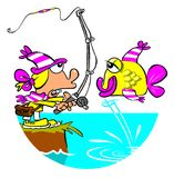 Fishing cartoon. Cartoon caricature of woman reeling in fish in identical colors Royalty Free Stock Photo