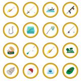 Fishing cartoon icon circle Royalty Free Stock Photo