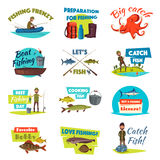 Fishing cartoon icon set with fisherman and fish. Fishing isolated cartoon icon set. Boat and bank fishing symbol of fisherman with spinning rod and net with Stock Images
