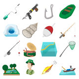 Fishing cartoon icons set Stock Images