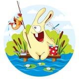 Fishing. Cartoon rabbit caught a goldfish for bait Royalty Free Stock Photo
