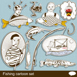 Fishing cartoon set Stock Images