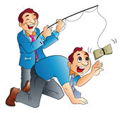 Fishing for Cash, illustration Royalty Free Stock Photography