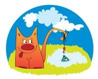 Fishing cat - funny cartoon illustration Stock Photo