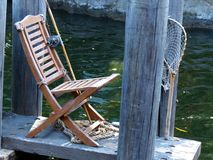 Fishing Chair on the Dock Stock Image