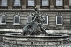 Fishing Children statue in Buda Castle Stock Photography