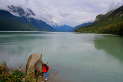 Fishing on Chilkoot Lake   Royalty Free Stock Images
