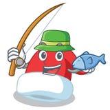 Fishing Christmas hat character cartoon. Vector illustration Stock Photos