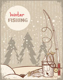 Fishing in Christmas night.Vintage winter image wi Stock Photo