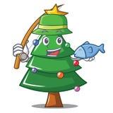 Fishing Christmas tree character cartoon. Vector illustration Stock Images