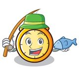 Fishing chronometer character cartoon style Royalty Free Stock Photography